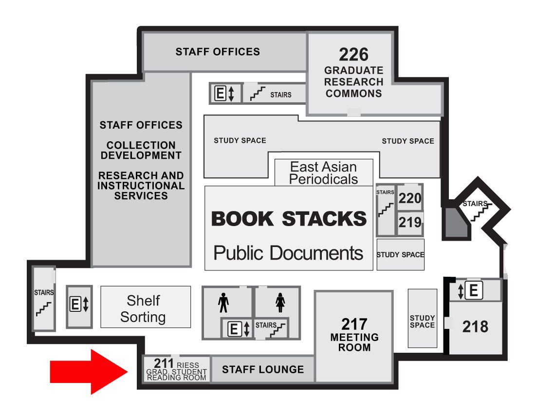 Map of the 2nd floor of Perkins Library, showing the location of the Reiss Graduate Student Reading Room.