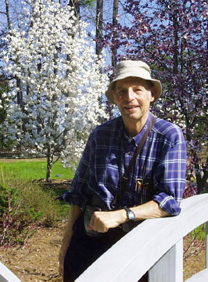 Horst Meyer in Duke Gardens. Photo by W. Ketterle, from his website at the Duke Physics Department.