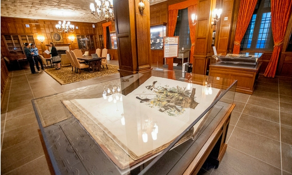 Exhibits in the Mary Duke Biddle Room (shown here) in the Rubenstein Library will be open on Saturday for Duke Homecoming weekend.