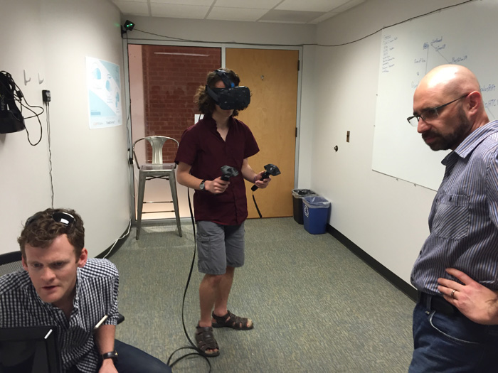 Students from the Durham School of the Arts try out virtual reality technology at the American Underground offices of Lucid Dream, a virtual reality production company in Durham.