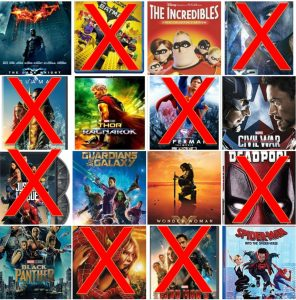 Collage of 16 entries with 8 losing films marked out