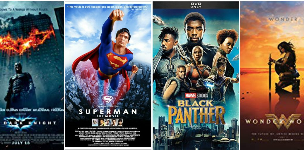 Vertical collage of 4 superhero DVD covers