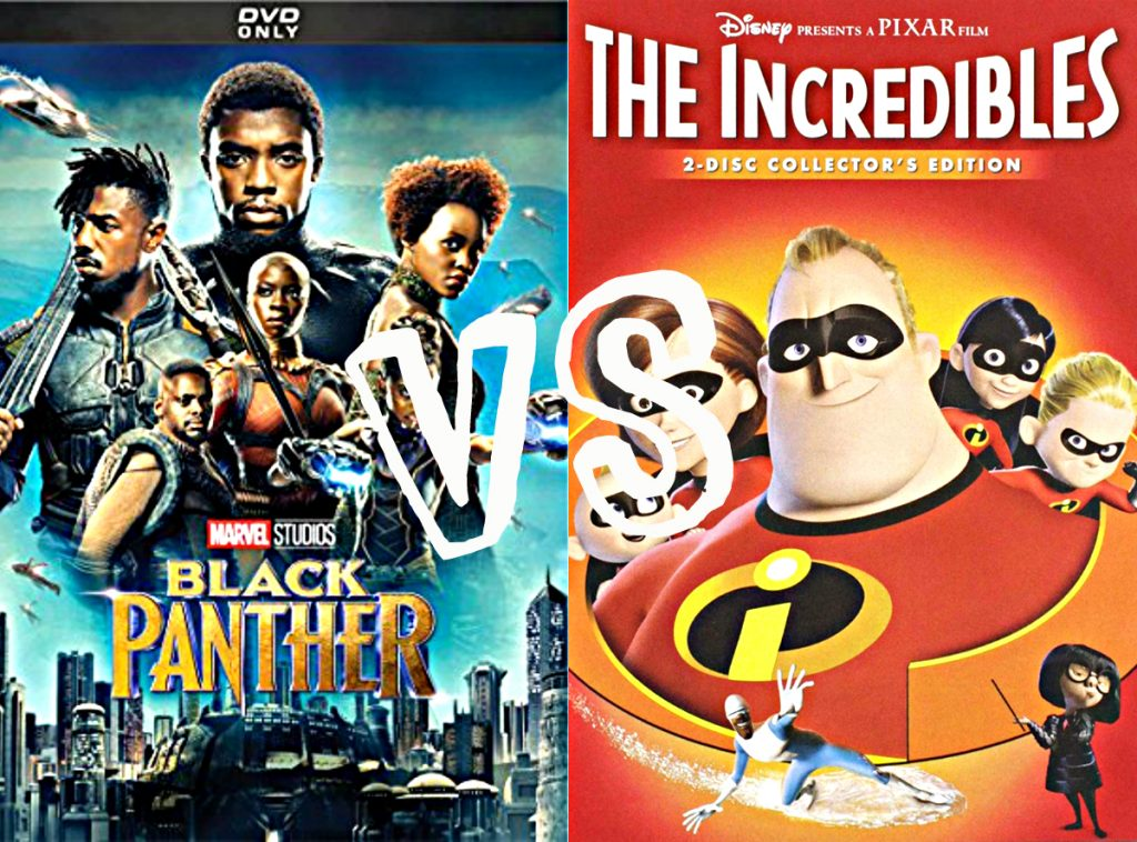 Picture of Black Panther and The Incredibles as the two finalist in the March Movie Madness Challenge