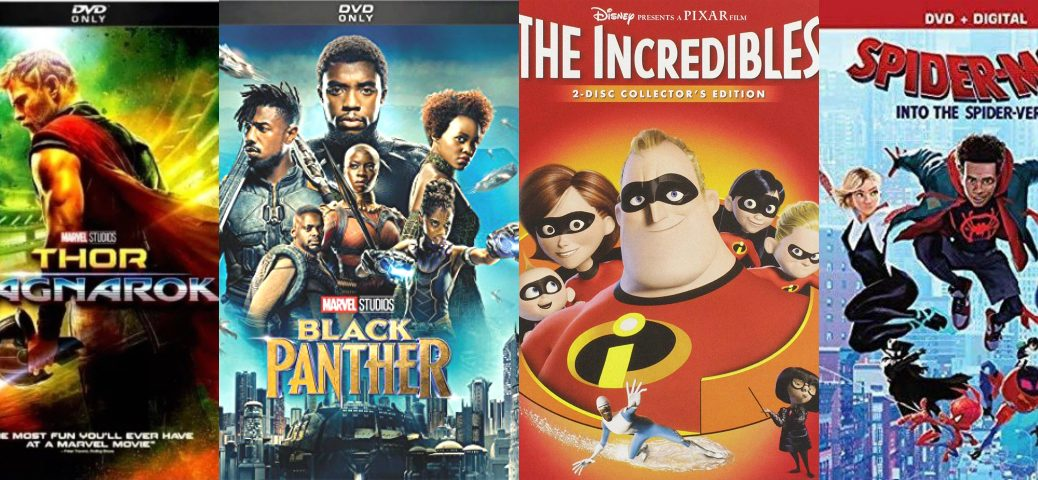 Four Finalists in Lilly's March Movie Madess: Thor, Black Panther, The Incredibles, Spider-Man Into the Spider-Verse