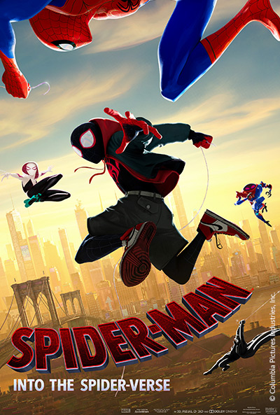 Movie poster of Spider-Man into the Spider-Verse with three figures