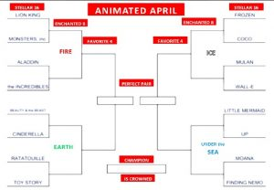 Brackets with film titles