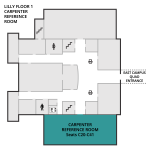 Map showing the position of the Carpenter Reference Room in relation to the rest of Lilly Floor 1.